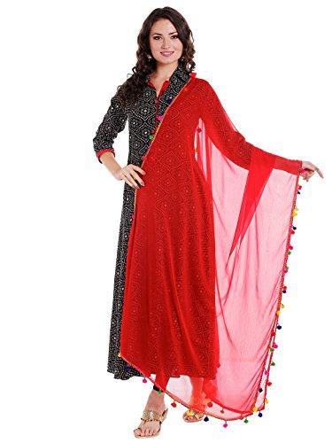 Dupatta Bazaar Woman's Red Chiffon Dupatta with Multicoloured Pompom by Dupatta Bazaar (Image #7)