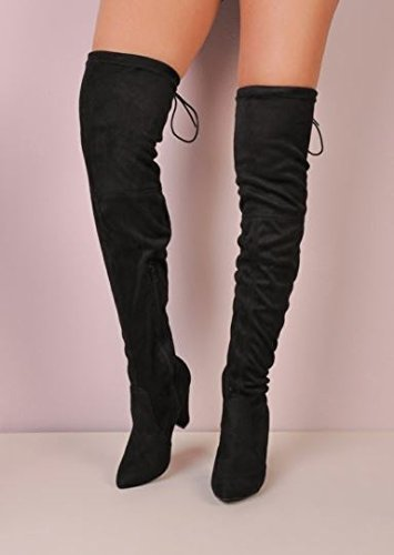 Women's High Over The Knee Tie Back Faux Suede Boots Block Heel Heeled Boots Black ykzqYBmA