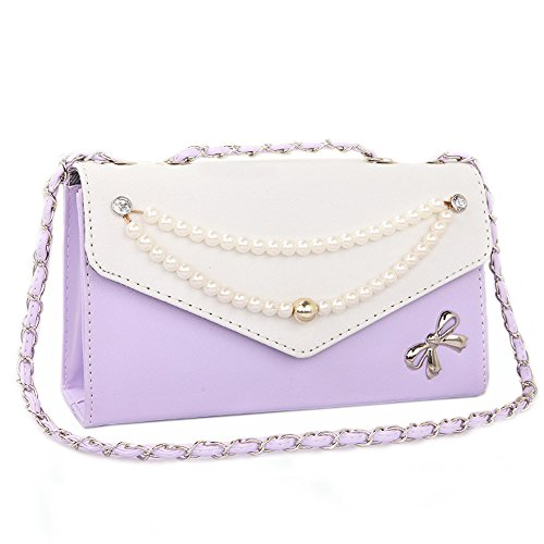 Catkit Fashion Womens Pearl Chain Bowknot Evening Tote Handbag Shoulder Bag Purple by Catkit