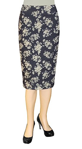 Indigo Floral Skirt (Baby'O Clothing Co. Below the Knee Stretch Denim Printed Floral Pencil Skirt 10)