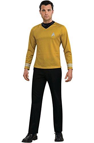 Adult Star Trek Uniform Costumes (Rubie's Costume Star Trek Gold Star Fleet Uniform Shirt, Gold, Large Costume)