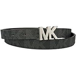 Michael Kors Womens Skinny With Silver MK Logo Reversible Belt Black/Brown Size X-Large