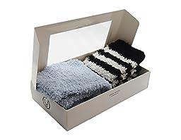 Cozy Plush Baby Legwarmer (Set Of 2 / Baby Blue & Stripes)