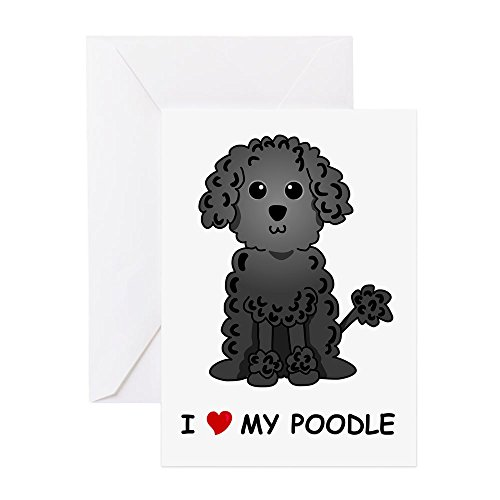 Poodle Note Card (CafePress - Black Poodle - Greeting Card, Note Card, Birthday Card, Blank Inside Glossy)