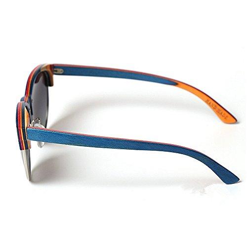 Deportes Blue Aviator Libre de Vendimia de Color Yxsd SunglassesMAN Retro la Wayfarer UV400 de Gafas de de Madera Gafas Sol Sol diseñador de al Aire Blue qacC4cF