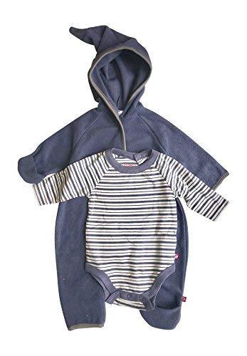Baby Boy Hooded Fleece Bodysuit Elf Romper with Fold Over Cuffs & Long Sleeve Snap Onesie Set (Navy Blue, 6 Months)