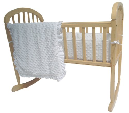 American Baby Company Heavenly Soft Minky Dot 3-Piece Cradle Bedding Set, White, for Boys and Girls