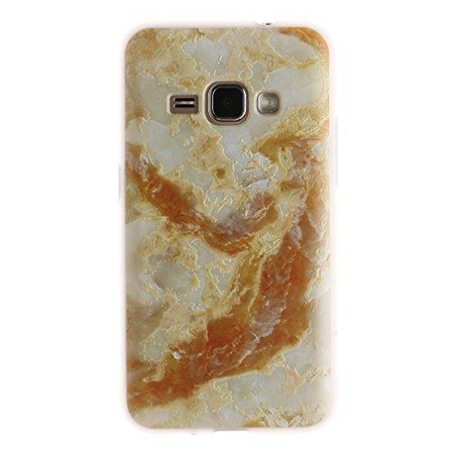 Funda Samsung Galaxy J1 2016 SM-J120F,XiaoXiMi Carcasa de Silicona TPU Suave y Esmerilada Funda Ligero Delgado Carcasa Anti Choque Durable Caja de Diseño Creativo - Flores de Datura Mármol