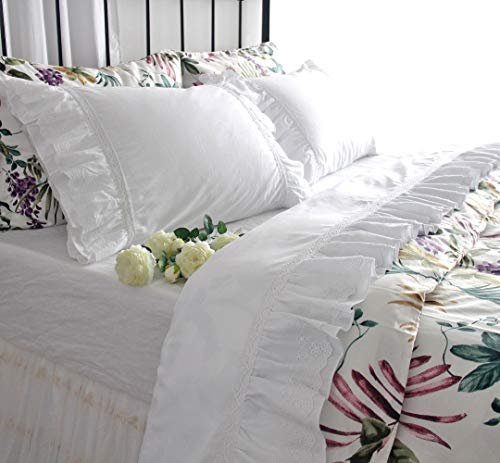Queen's House Shabby Lace Bed Sheets White Deep Pocket Elegant Girls Bedding Sheets Queen