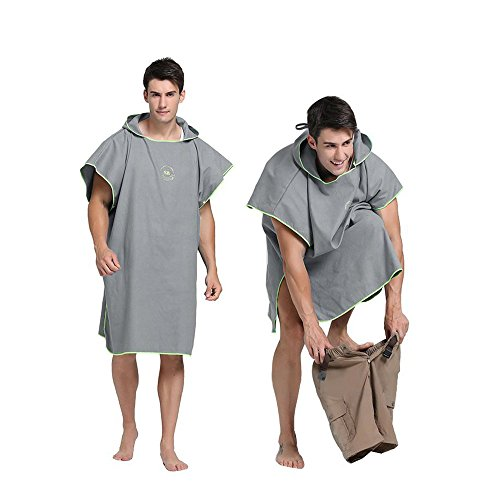 Hiturbo Microfiber Surf Beach Wetsuit Changing Towel Robe Poncho with Hood -One Size Fit All