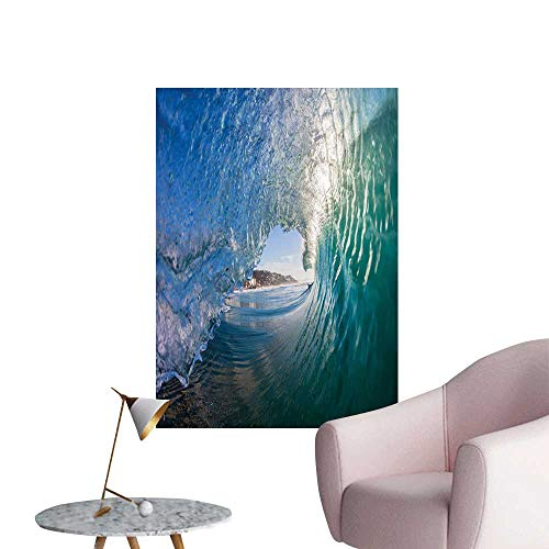 Jaydevn Wave Decals for Home Room Decoration Inside Hollow Crashing Morning Waves Water Details Energetic Summer Surf Image Elevator Stairs Wall Teal Light Blue W24 x -