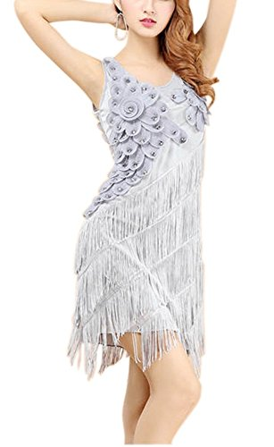 Whitewed Floral Tassel Flapper Dance Matching Costumes Dresses for Women Gray -
