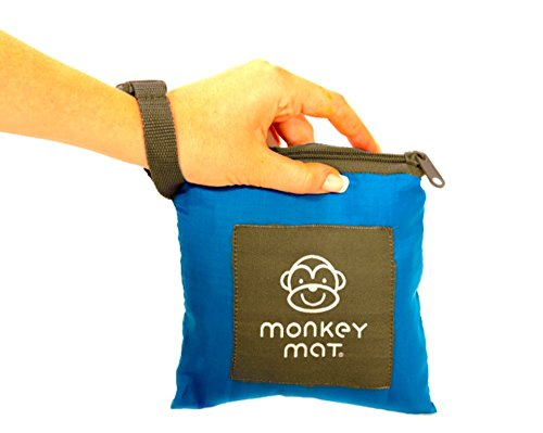 MONKEY MAT Portable Lightweight Indoor/Outdoor 5'x5' Water/Sand Repellent Blanket with Corner Weights & Loops in Compact Pouch (Blue - Right Key Nylon Corner