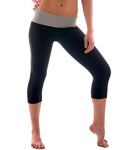 Women's Slimming Foldover Capri Crop Yoga Pants,Heathergrey/Black,Small ()
