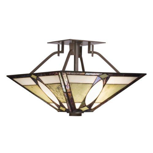 Kichler Lighting 65323 2-Light Denman Art Glass and Stone Semi-Flush Ceiling Light, Olde Bronze (Mount Tiffany Stones)
