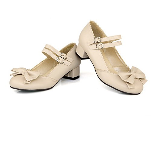 BalaMasa Womens Buckle Chunky Heels Spun Gold Bowknot Buckle Imitated Leather Pumps-Shoes Beige nsKthss