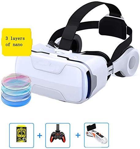 バーチャルリアリティのメガネ 3Dメガネ 0-600°近視調整、 に適しています 4.7-6.0インチ IOS/Android 携帯電話,白,F