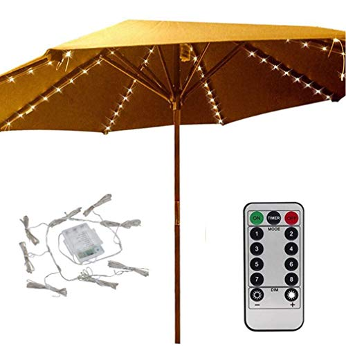 Patio LED Umbrella String Lights,8 Mode with Remote Control Parasol Lights Battery Operated Waterproof Outdoor Lighting for 9-10ft Table Patio Umbrellas Outdoor Sunshade
