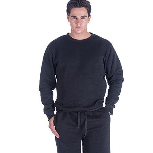 Crewneck Mens Sweatshirt Long Sleeve Polyester Fleece Crew Neck Sweats Top (XL, Black)