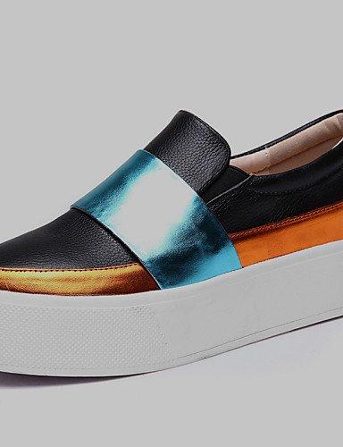 ZQ Zapatos de mujer - Plataforma - Plataforma / Creepers - Mocasines - Oficina y Trabajo / Vestido / Casual / Fiesta y Noche - Cuero - Negro , black-us6 / eu36 / uk4 / cn36 , black-us6 / eu36 / uk4 / black-us6.5-7 / eu37 / uk4.5-5 / cn37