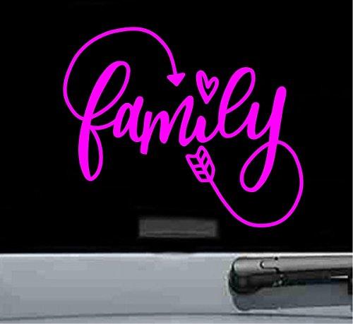 - Family heart arrow Vinyl Decal Sticker (HOT PINK)