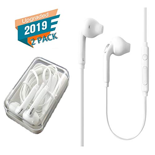 PopKoko 2 Pack Headphones/Earphones/Earbuds/Headsets 3.5mm Wired Headphones Noise Isolating Earphones with Built-in Microphone & Volume Control Compatible with iPhone 6 SE 5S 4 iPod iPad/Android MP3/4 (Earbuds Iphone 4)