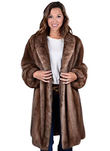 Mink Fur Swing Stroller with Shawl Collar Cuffs(Mahogany,10)