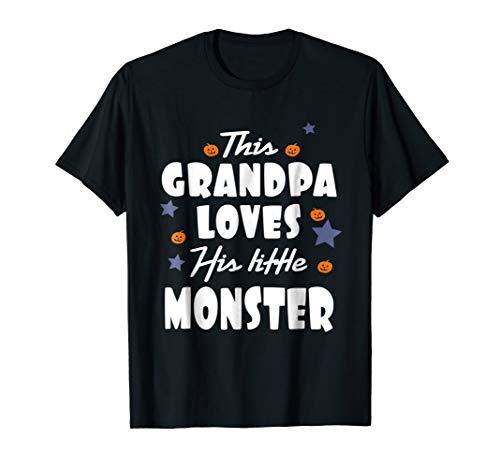 (Mens This Grandpa Loves His Little Monster Halloween T)