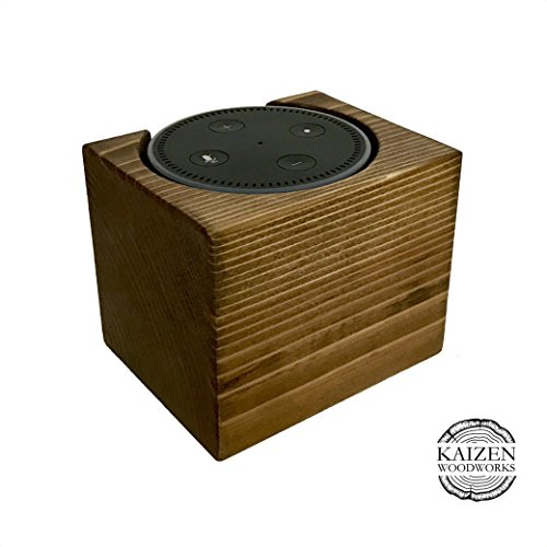 Echo Dot Wood Stand, Rustic Brown, 4x4x4, Distressed, Amazon Alexa Stand, Handmade in USA, Fits Echo Dot 2nd Generation, Decorative Wood Holder For Al…