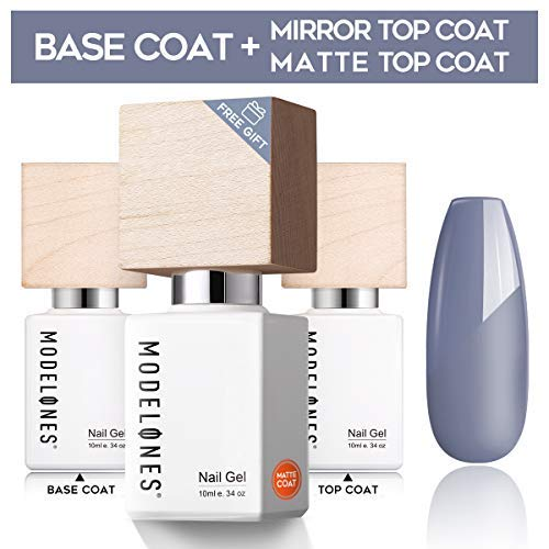 Modelones Upgraded Base Coat No Wipe Glossy Top Coat Set With 1 Free Matte Top Coat(3 X 10 ml) Soak Off LED UV Gel Nail Polish - High Gloss Shiny ()