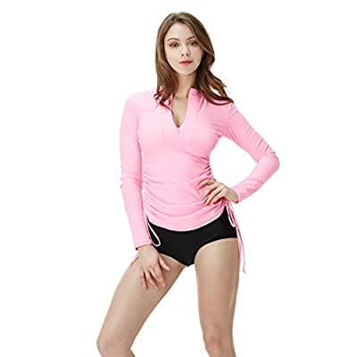 TSLA Women's UPF 50+ Full & Half Zip Front Long Sleeve Top Rashguard Swimsuit: Clothing
