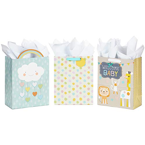 Hallmark Large Baby Shower Gift Bags Assortment with Tissue Paper (Pack of 3 Gift Bags, 9 Sheets of Tissue ()