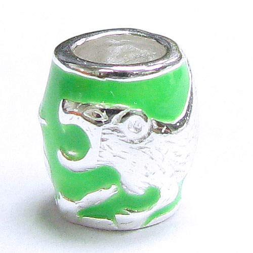 Dreambell Sterling Silver Chinese Zodiac Tiger Green Enamel Bead For European Charm Bracelets