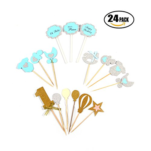 Baby Shower Cupcake Topper for Boy, DIY Birthday Cake & Party Decoration Food Picks Cupcake Party Picks, 24 Pieces ()