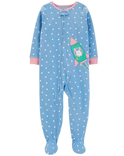 Carter's Baby Girls 12M-5T One Piece Fleece Pajamas, Bunny Rocket, 2T -
