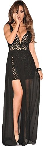 Elegante dama Noche de Encaje Negro Vestido de Cóctel Prom Party Dance Club wear tamaño M UK 10–12EU 38–40