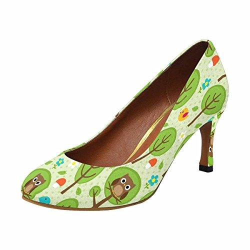 InterestPrint Womens Classic Fashion High Heel Dress Pump Forest Pattern With Owls, Birds, Trees