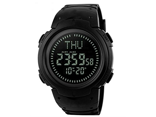 Yuchoi Solid Compass Waterproof Electronic Digital Watch Compass Outdoor Explore Navigation Tools (Black) by Yuchoi