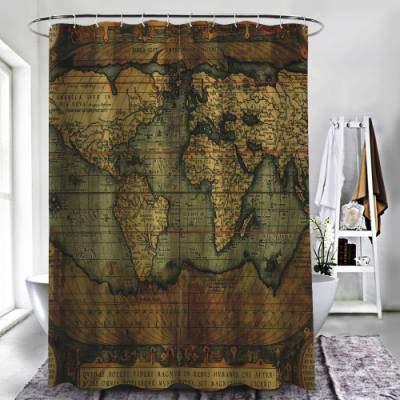 """ZXAWT Brand Waterproof Bathroom Shower Curtains Foto de archivo reproducción del siglo XVI Mapa del Mundo grabado(48"""" W x 72"""" H)"""