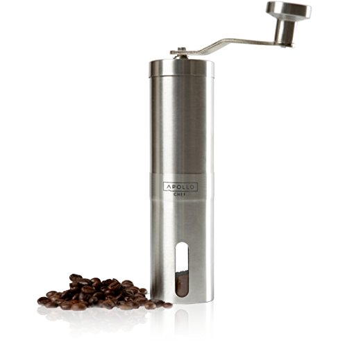 r, Burr Grinder for Coffee and Spice Seeds with Stainless Steel Handle by Apollo Chef ()