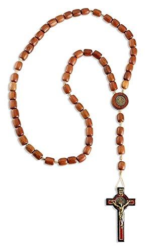 Catholica Shop Catholic Religious Wear Saint Benedict Crucifix Cross Necklace with Wood Beads Rosary - 20 Inch (Jatoba)