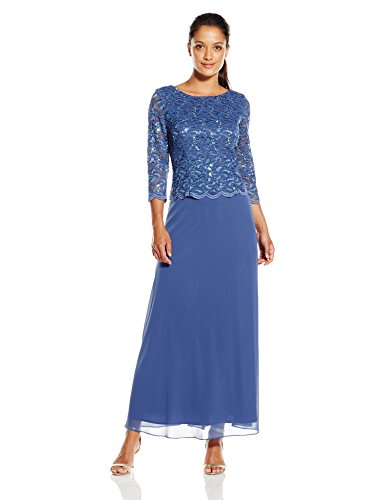 Chiffon Dress Skirt Full Prom (Alex Evenings Women's Petite Long Lace and Chiffon Dress, Wedgewood, 14/Petite)