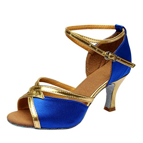 - Women's high Heel Sandals Cross Belt Buckle Latin Dance Shoes Fashion Rumba Waltz Dance Shoes MEEYA Blue