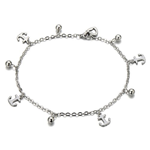 Stainless Steel Anklet Bracelet with Dangling Charms of Anchors by COOLSTEELANDBEYOND