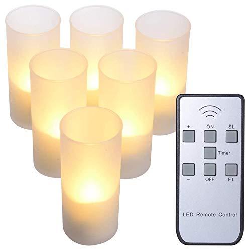 PChero 6st Oplaadbare LED Vlamloze Timer Theelicht Kaarsen met Afgelegen, Frosted Cups op Laadstation, Perfect voor…