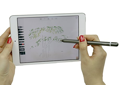 Active Touch Stylus Pens,Rechargeable Accurate Point Stylus Pens,Fine Tip Metal Electronic Styli for iPad,iPhone Plus,Tablets,Smartphones,All Capacitive Touch Screen Devices (Gray) by Peilinc (Image #6)