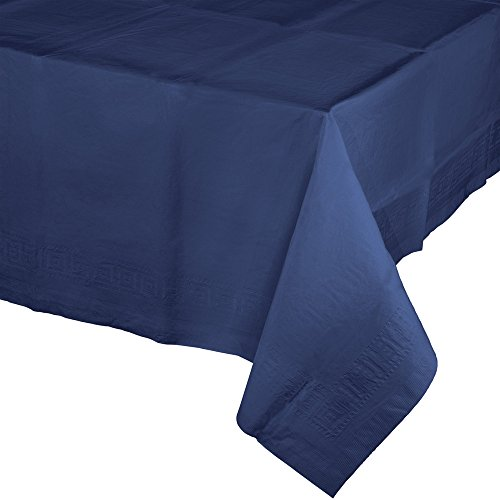 Creative Converting  Touch of Color Paper Banquet Table Covers, Navy Blue(Pack of 6) - - Lined Cover Poly Table