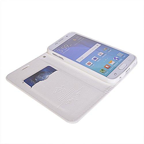 Galaxy S6 edge Fundas,COOLKE [Aqua] PU Cuero Con Soporte Plegable y Ranura para tarjeta Cartera Carcasa Funda Tapa Case Cover para Samsung Galaxy S6 edge SM-G9250 Blanco
