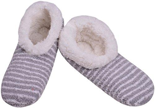 Grips ORSKY Non Women Fuzzy Indoor with Socks Slipper Grey Slip qq7xvnH