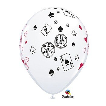 Casino Night Cards and Dice 11-Inch Latex Balloons, Qualatex 25 Per Pack, Health Care Stuffs